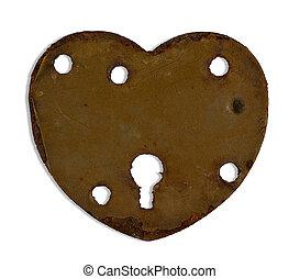 heartshaped keyhole - rusty heartshaped keyhole isolated on...