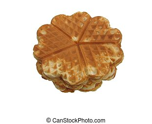 Scandinavian heartshaped waffles isolated on white