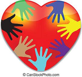 heart.vector, mãos