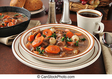 Hearty beef stew bourguignon - Beef stew with carrots, ...