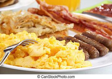 Hearty Breakfast - Stock image of hearty breakfast, focus on...