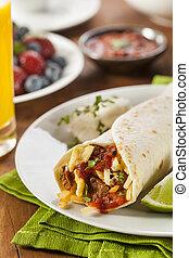 Hearty Chorizo Breakfast Burrito with Eggs, Cheese, and ...
