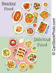 Hearty dishes icon set with fish, meat and veggies - Hearty...
