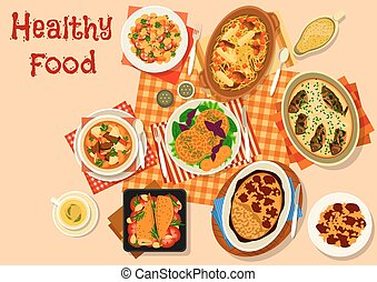 Hearty dishes with baked meat and fish icon