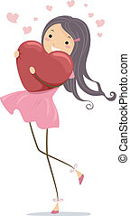 Hearty Hug - Illustration of a Girl Hugging a Heart-shaped...