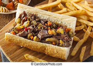 Hearty Italian Beef Sandwich with Hot Giadanarra Peppers
