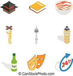 Hearty meal icons set, isometric style