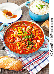 Hearty sausage stew - Hearty stew with German sausages and ...