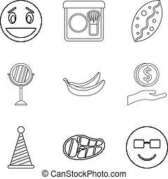 Hearty welcome icons set, outline style - Hearty welcome...