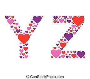 Hearty YZ - Letters Y and Z filled with colorful hearts.