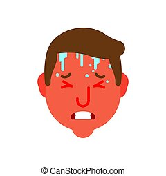 Heat and Temperature epidemic simpotomy head. Hothead Red face. Sweat on forehead. Cold and flu. Metaphor of problems and reduced health. pain medical health care concept