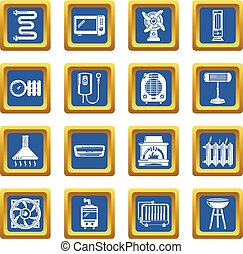 Heat cool air flow tools icons set blue square vector