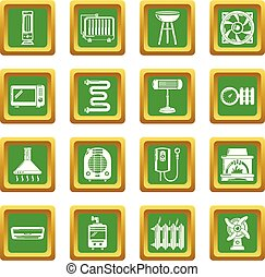 Heat cool air flow tools icons set green square vector