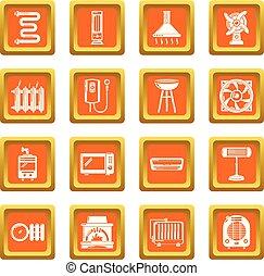 Heat cool air flow tools icons set orange square vector