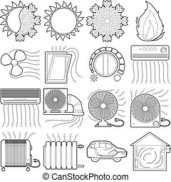 Heat cool air flow tools icons set, outline style
