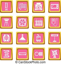 Heat cool air flow tools icons set pink square vector