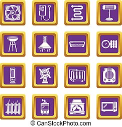 Heat cool air flow tools icons set purple square vector