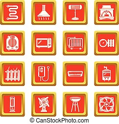 Heat cool air flow tools icons set red square vector