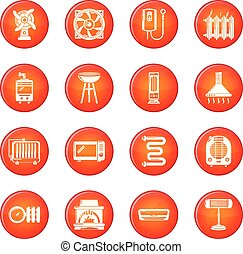 Heat cool air flow tools icons set red vector
