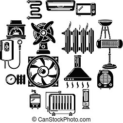 Heat cool air flow tools icons set, simple style