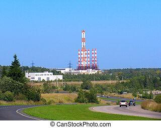 Heat electropower station - Industrial landscape. Power...