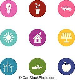Heat energy icons set, flat style