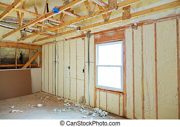 Heat isolation in a new prefabricated house with mineral...