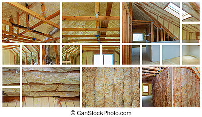 Heat isolation in new prefabricated house with mineral wool and wood. photo collage