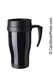 Heat protection-thermos coffee cup isolated on white