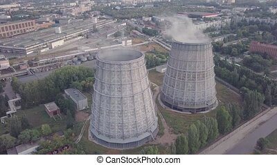 Heat station barrel - Big barrels of heat station, aerial...
