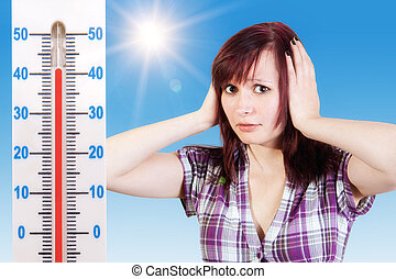 Heat - young woman are afraid about to hot weather