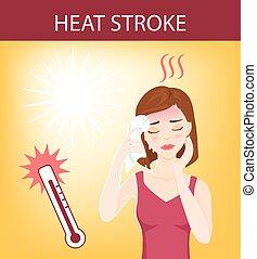 Heat stroke 01 - Young beautiful woman suffers from heat ...