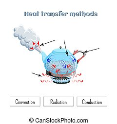 Heat transfer methods on example of water boiling in a kettler on gas stove top. Worksheet.