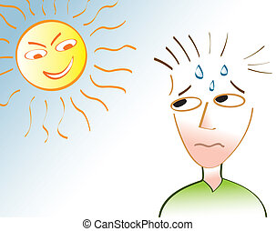A man sweating under an angry sun depicting a heat wave or a very hot summer day.