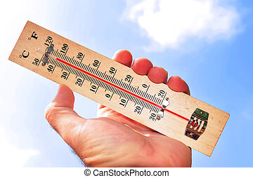 Heat Wave High Temperatures - A hand and temperature scale...