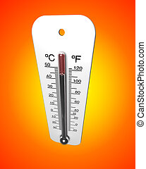 Heat Wave - Weather thermometer reading a high temperature ...