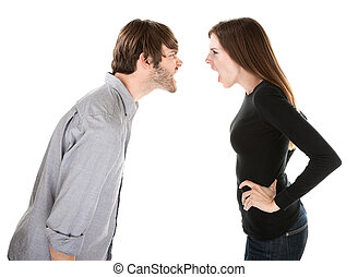 Heated Argument - Young Caucasian couple arguing on white...