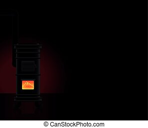 Heated Room Cast Iron Stove Cozy Warmth - Heated room - a...