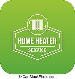 Heater icon green vector