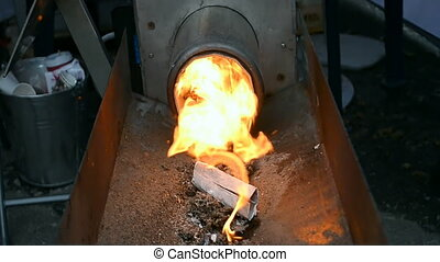 heater with hot fire closeup, methane fuel, energy details...