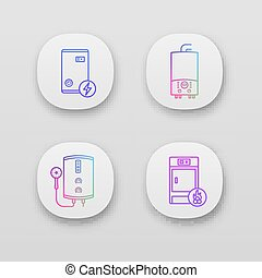Heating app icons set. Electric boiler, gas and electric tankless water heater, solid fuel boiler. UI UX user interface. Web or mobile applications. Vector isolated illustrations