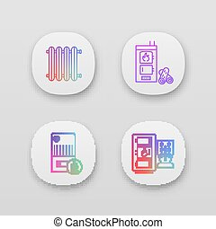 Heating app icons set. UI UX user interface. Radiator, firewood and pellet boiler, solid fuel heater. Web or mobile applications. Vector isolated illustrations