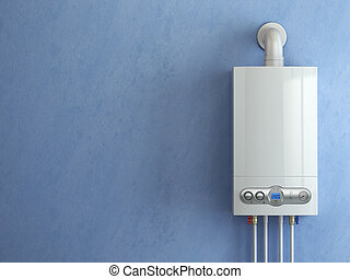 heating., arrière-plan., maison, chaudière, essence, bleu