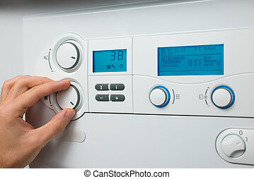 Heating boiler - Control panel of the gas boiler for hot...