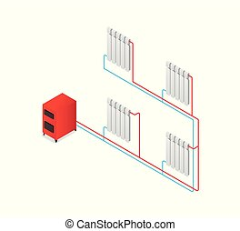 Heating boiler Scheme radiator. Isometric vector...