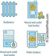 Heating color icons set. Radiator, firewood and pellet boiler, solid fuel heater. Isolated vector illustrations