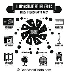 Heating cool air infographic concept, simple style - Heating...