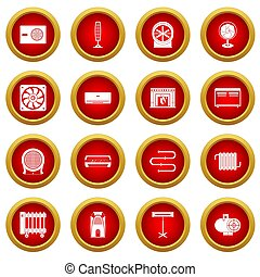 Heating cooling air icon red circle set isolated on white...