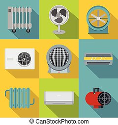 Heating cooling air icon set, flat style