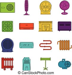 Heating cooling air icons doodle set